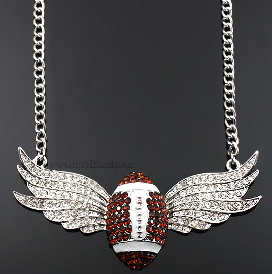 Crystal Wings Football Sports Necklace