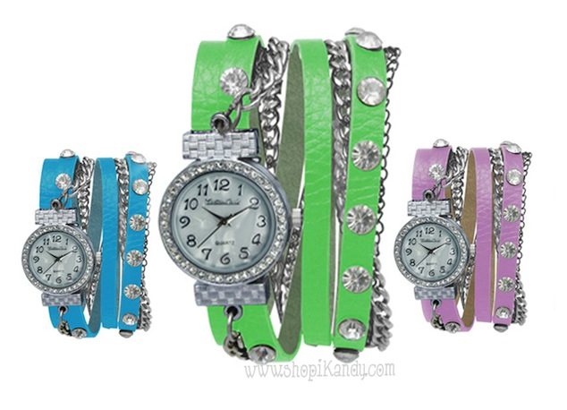 Crystal Studded Wrap Bracelet Watch
