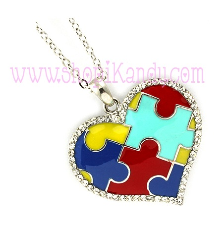 Autism Awareness Puzzle Heart Necklace Pendant