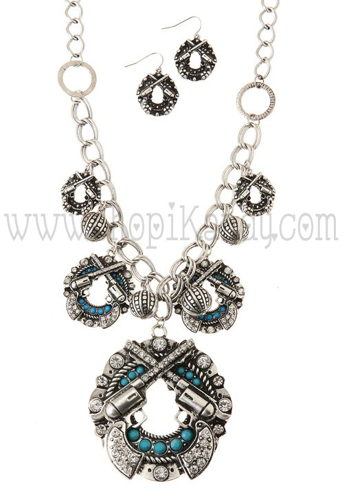 Chunky Double Guns Charm Necklace & Earrings Set