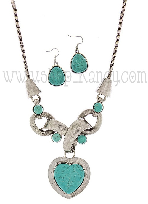 Antique Heart Necklace Set
