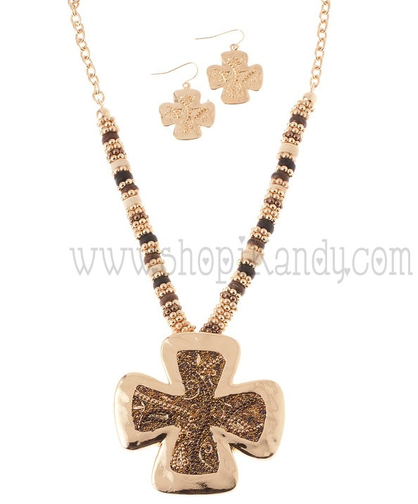 Chunky Beaded Cross Necklace Set
